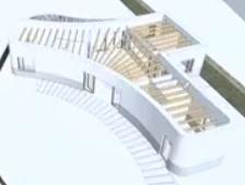 フランスの3Dプリント公営住宅 Y字型の模型