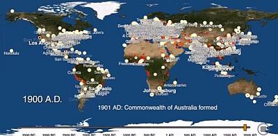 5700年の文明の発達を3分に縮めた動画